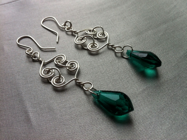Sterling Silver Celtic Link and Emerald Green Glass Bead Earrings
