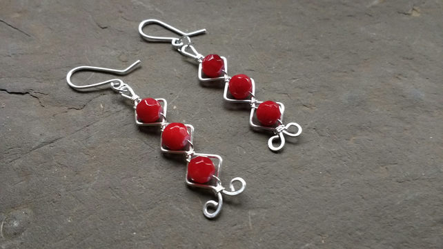 Red Wirework Silver Plated Dangly Earrings