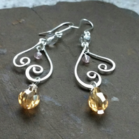Swirling Heart Dangly Earrings