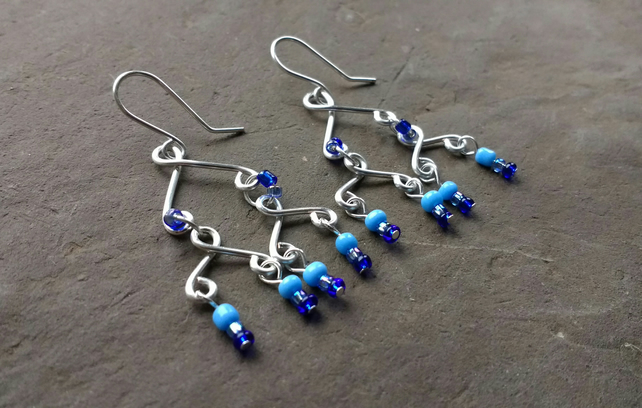 Blue Dangly Beaded Wirework Earrings