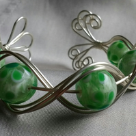 Silver Plated Wirework Cuff with Green Flower Beads