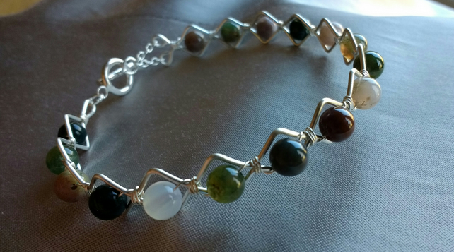 Silver Plated Indian Agate Wirework Bracelet