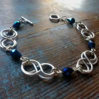 Double Celtic Link Bracelet with Midnight Blue Beads