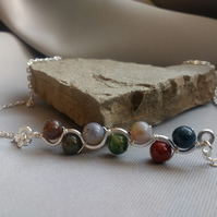 Indian Agate Wave Necklace