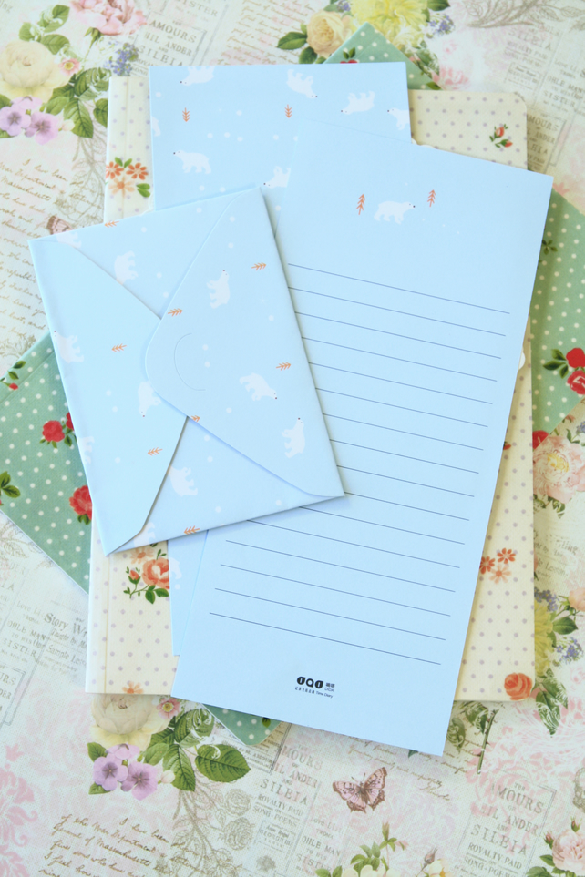 Blue Bear Time Diary writing paper and envelopes letter set