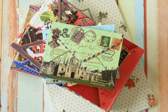 Palace & Big Ben Vintage Travel cartoon Memo notepad