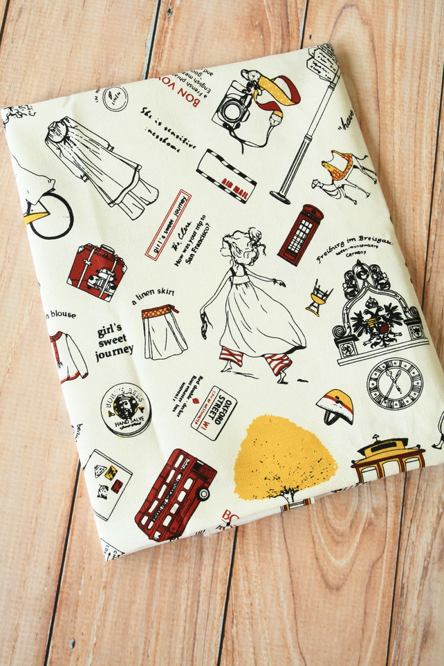 Bon Voyage cartoon travel  Cotton Linen blend fabric quarter