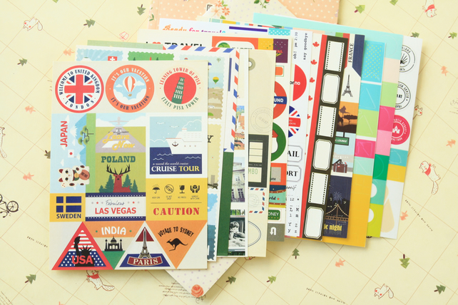 Travel Daily Deco cartoon stickers set