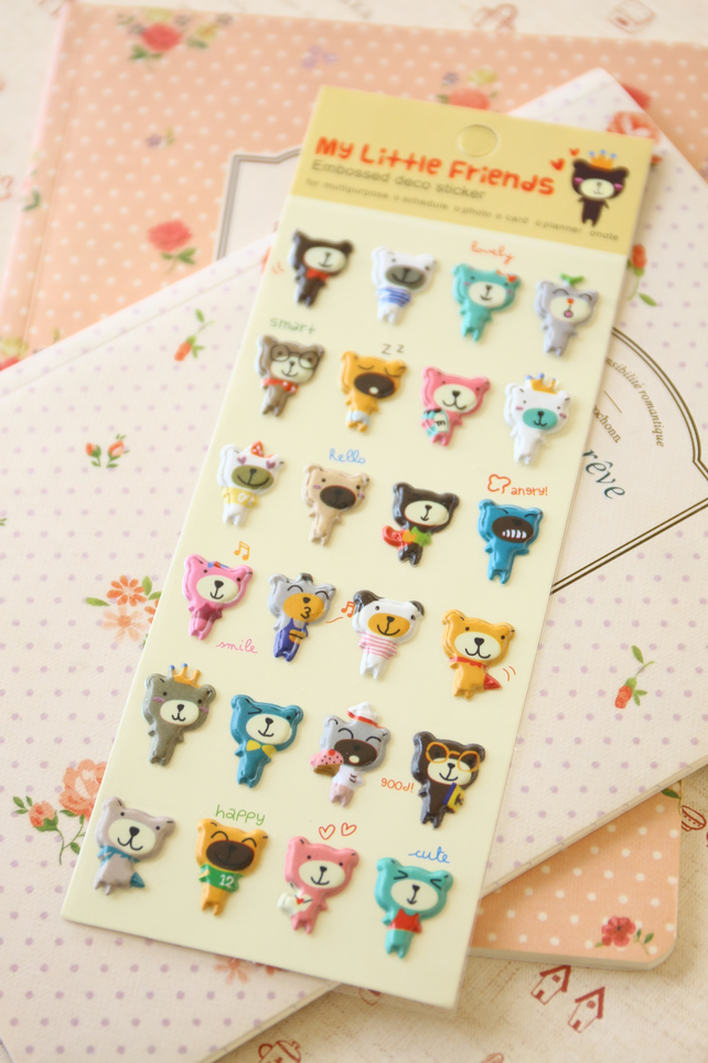 Black Bear Artbox My Little Friends cartoon puffy stickers