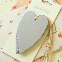 East of India Chipboard Grey plain heart tags