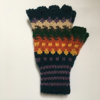 Hand knitted unisex multi-coloured fingerless gloves