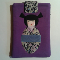Purple Applique Kokeshi Doll Tablet Case