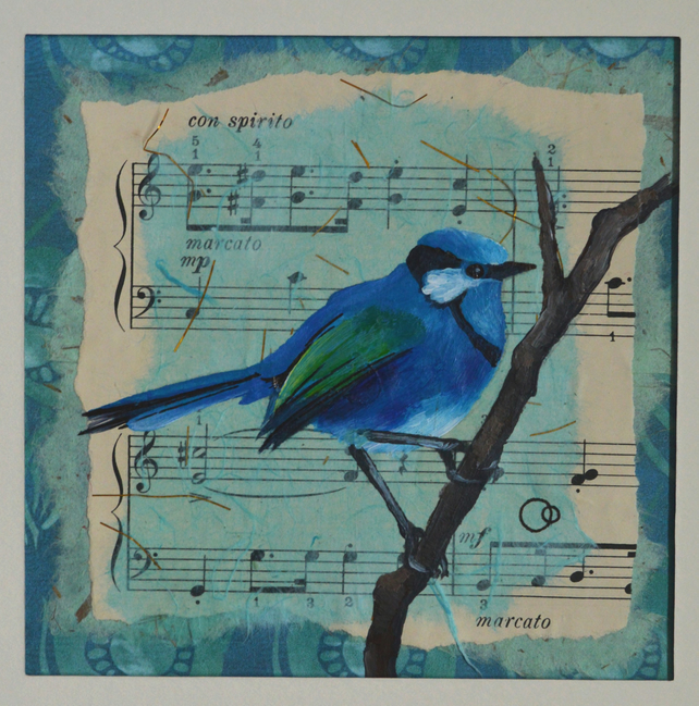 """Con Spirito"" Original Hand Painted Collage Blue Bird Sheet Music Nature Art"