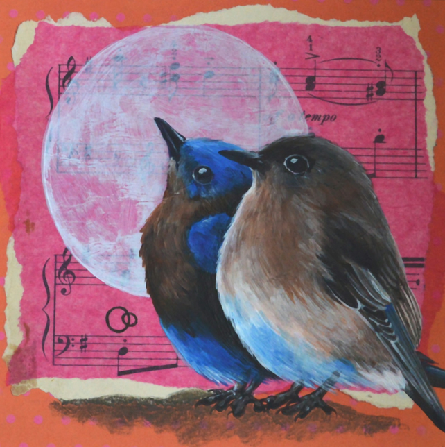 """Moonlight Serenade"" Hand Painted Collage Two Birds Sheet Music Nature Art"