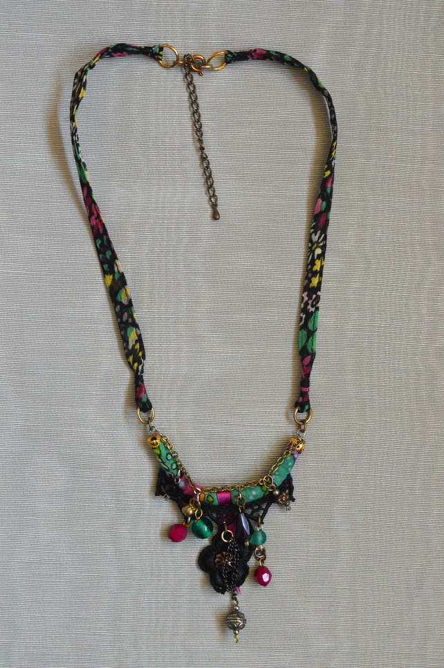 Textile and Bead Necklace