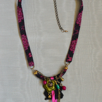 Black and Pink Textile and Bead Necklace