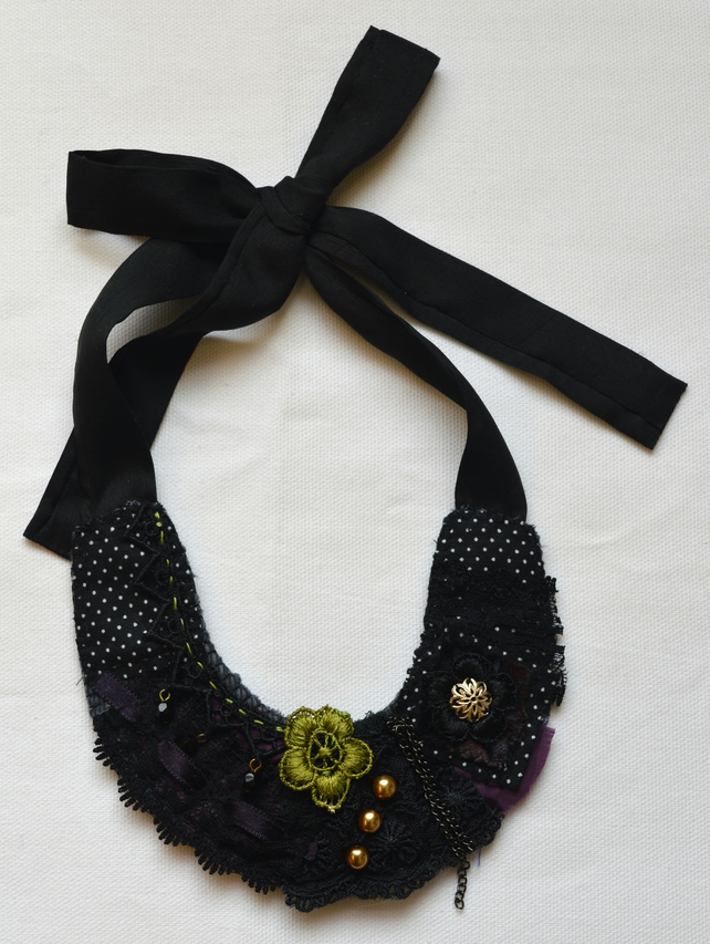 Black and Purple Textile Necklace