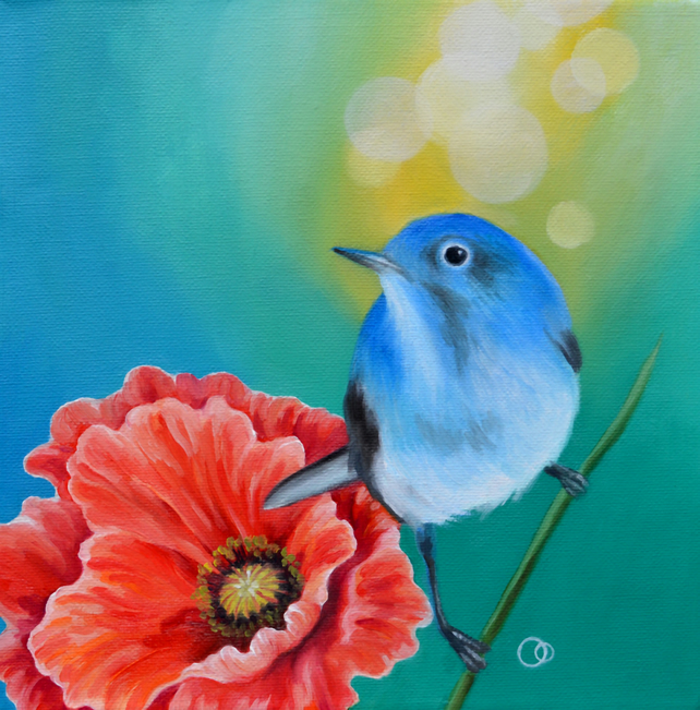 """Little Blue"" Original Oil Painting Blue Bird Red Poppy Nature Art"