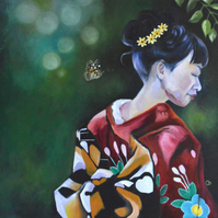 """Butterfly"" Original Oil Painting Geisha Japanese Nature Art"