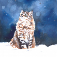 JANUARY SALE! Cat Fine Art Christmas Greeting Card