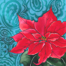 Poinsettia & Paisley Design Christmas Card