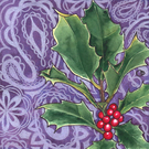 Christmas Holly & Paisley Christmas Greeting Card