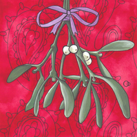 Mistletoe and Paisley Christmas Greeting Card