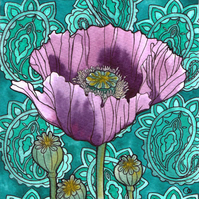 Nouveau Paisley Poppy Design Greeting Card