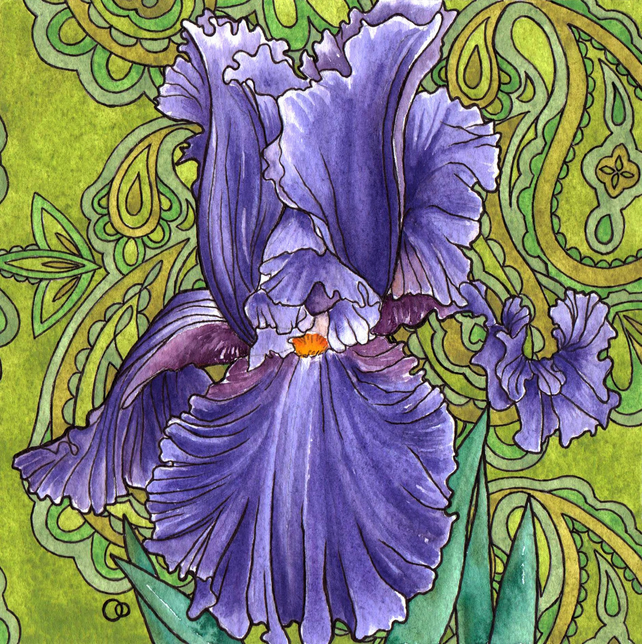 Nouveau Paisley Iris Design Greeting Card