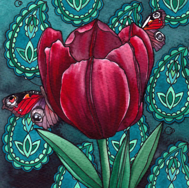 Nouveau Paisley Tulip Design Greeting Card