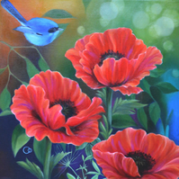 Original Red Poppies & Little Blue Bird Oil Painting on Canvas