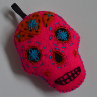 Pink Felt Sugar Skull Stuffie Hanging Decoration