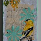 """Delicato"" Yellow Bird Hand Painted 5"" x 7"" Mixed Media Collage on Canvas"