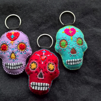 Set of Three Mexican Day of the Dead Sugar Skull Felt Stuffie Keyrings