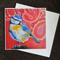Blue Tit Pop Art Greeting Card