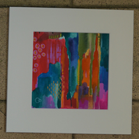 Colourful Abstract Mixed Media Painting on Paper