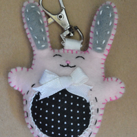 Pink Felt Happy Little Bunny Rabbit Stuffie Handbag Charm