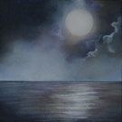 """Moonscape 2"" Original Small Acrylic Seascape"