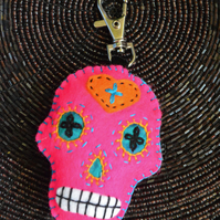 Shocking Pink Sugar Skull Felt Stuffie Handbag Charm