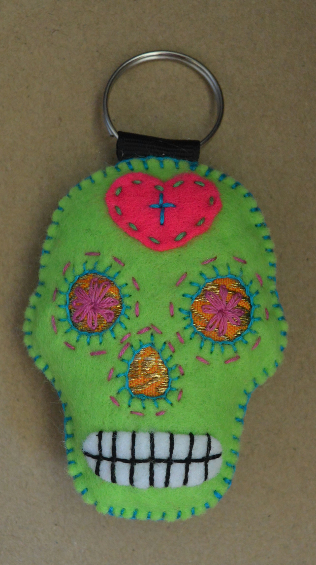 Lime Green Sugar Skull Felt Stuffie Keyring