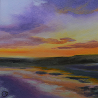 Sunset Seascape original acrylic small painting