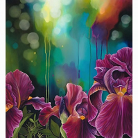 """Fire Irises"" Digital Print Red Bearded Irises Flowers"