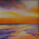 Sunset Seascape Original Mounted Acrylic Painting on Paper