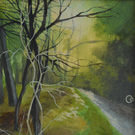 Woodland Stroll Original Mounted Acrylic Painting on Paper