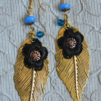 Fashion Dangle Gold & Turquoise Coloured Leaf Drop Earrings