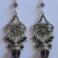 Silver Plated Purple Drop Chandelier Earrings