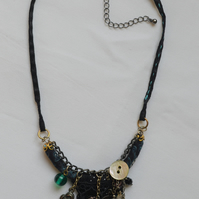 Textile and Bead Pendant Necklace