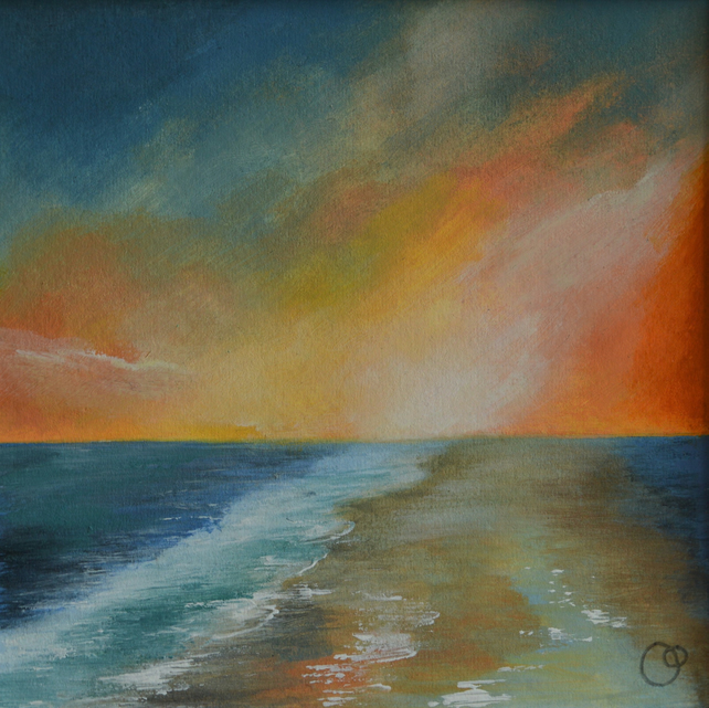 Californian Sunset Acrylic Seascape Painting