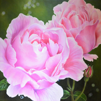 Garden Roses Floral Oil Painting
