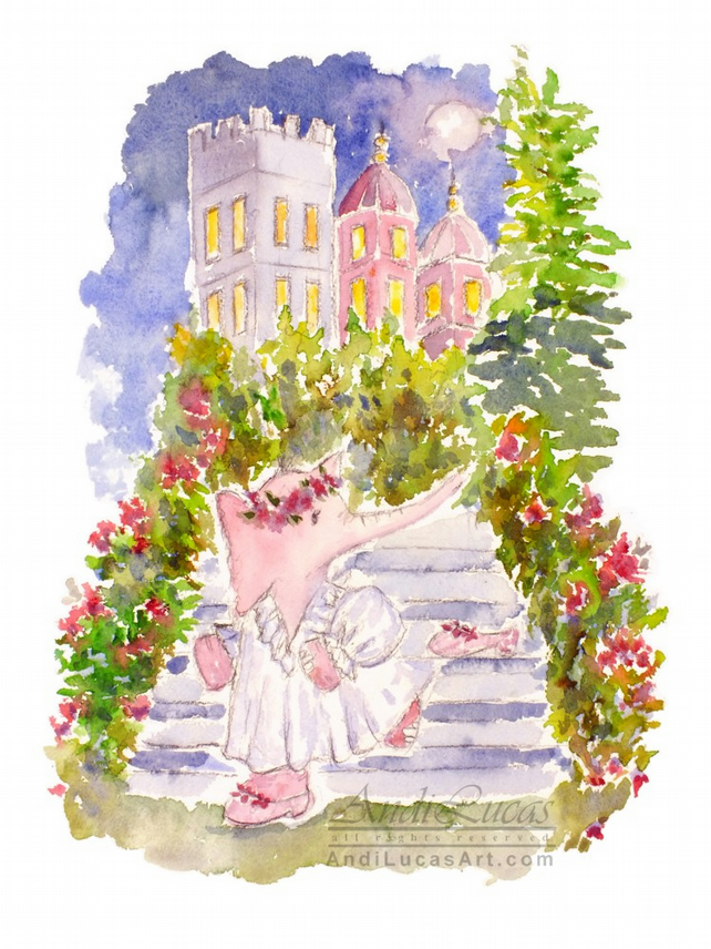 Elephant Watercolour Print Fine Art Cinderella Children's Animal Wall Art